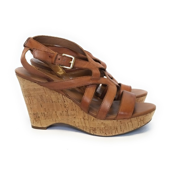 82e901e1e87 NEW FRANCO SARTO Womens Leather Wedge Sandals 8.5